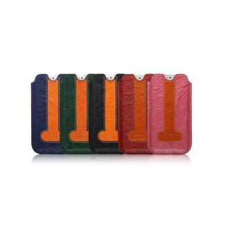 ICARER kožené pouzdro zasouvací pro iPhone 5, 5S, SE - pštros RIP 506