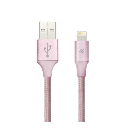 iFrogz UniqueSync Premium odolný lightning kabel pro iPhone - 1,5m - Rose Gold