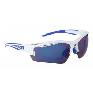 Brýle FORCE Ride Pro bílé diop.klip, modré laser skla