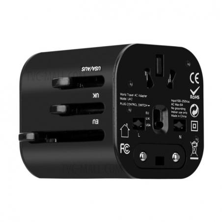 Cestovní adaptér Momax: 1 World mini AC – černý