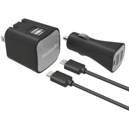 Sada Digipower Dual USB nabíječka, autonabíječka, Lightning kabel, Micro USB kabel