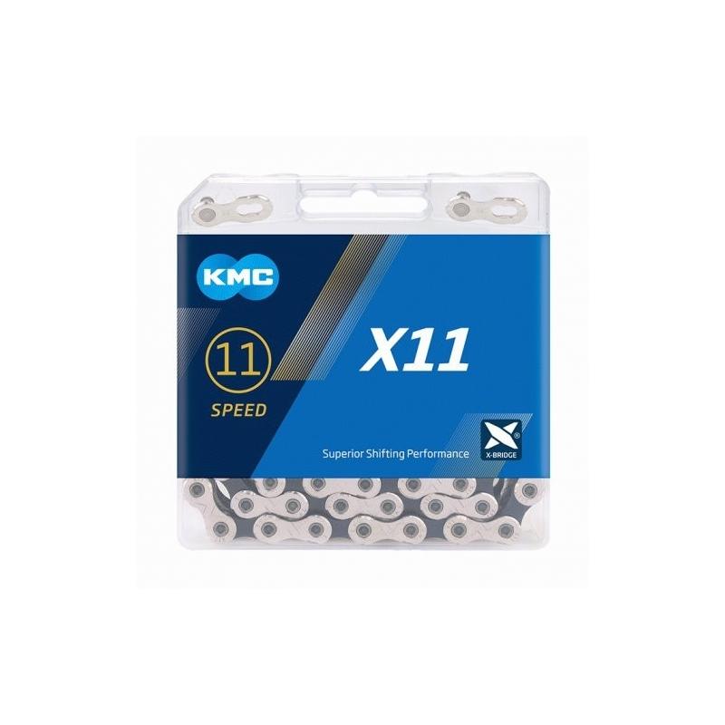 Řetěz KMC X 11 stříbrno-černá, 118 čl.