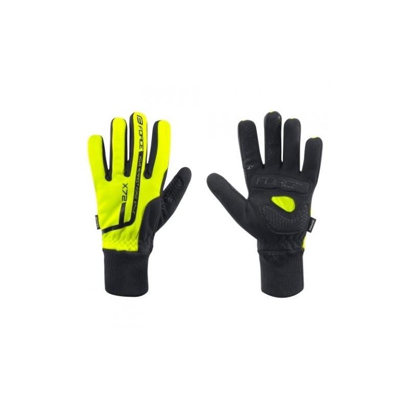 Rukavice Force X72 Fluo cyklistické zimní, černo-žluté