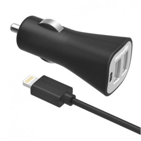 Inteligentní 3.4A USB autonabíječka Digipower s 1m lightning kabelem