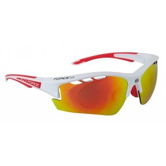 Brýle FORCE Ride Pro bílé diop.klip, červené laser skla