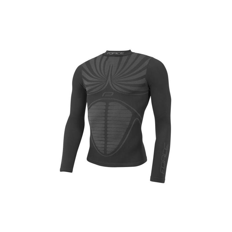 FORCE tričko funkční THUNDER, dlouhý rukáv, černé